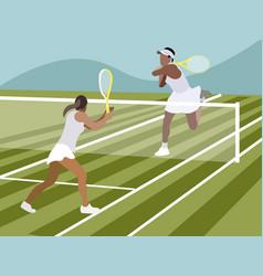 tennis sports game in minimalist style cartoon vector image
