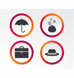 Umbrella wallet and hat with case vector