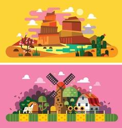Village sunset landscapes vector image