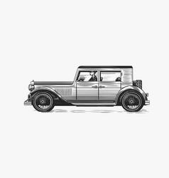 vintage car for service signboard old transport vector image
