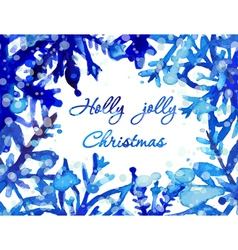 Watercolor snowflake card vector image