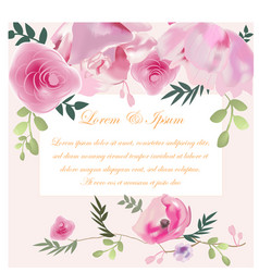 wedding card pink rose flower vector image