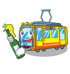 With beer miniature electric train in cartoon vector
