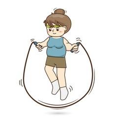 Woman jumping rope vector