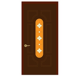 Wooden door with stained glass window vector