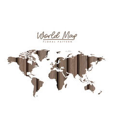 World map floral pattern with gray wood lines on vector