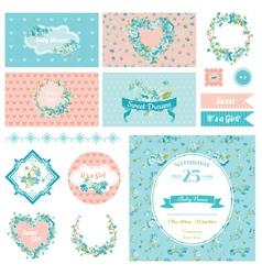 Baby Scrapbook Party Set - Flower Theme vector image