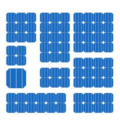 blue solar cell panel set on white background vector image