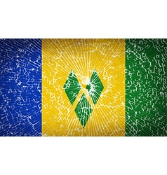 Flags Saint Vincent Grenadines with broken glass vector image
