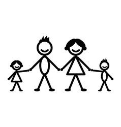 Happy stick family vector