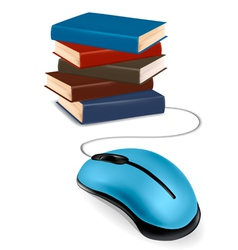stack of books and mouse vector image vector image