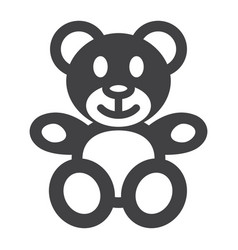 teddy bear solid icon plush toy and baby vector image