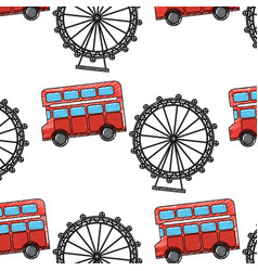 Uk london double bus decker ferris wheel symbol vector