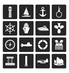 Black Simple Marine Sailing and Sea Icons vector image