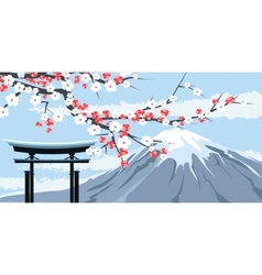 Graphic of Mount Fuji with Cherry Blossoms vector image vector image