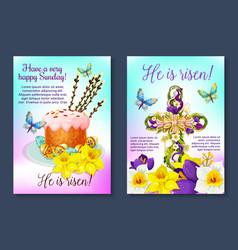 Easter poster crucifix cross paschal cake vector