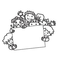kids face frame vector image vector image