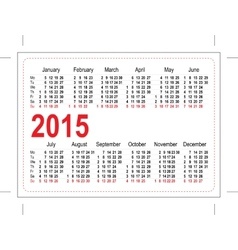 Template pocket calendar 2015 vector image vector image