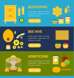 cartoon honey banner horizontal set vector image