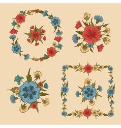 Flowers Set Floral Frames Greeting Cards Decor vector image vector image