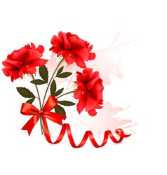 Holiday background with beautiful red roses and a vector image