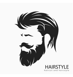 mens hairstyle with a beard and mustache vector image