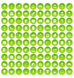 100 patisserie icons set green circle vector