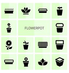 14 flowerpot icons vector image