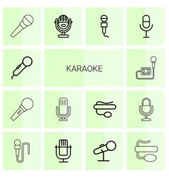 14 karaoke icons vector image