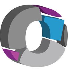 3d font letter o vector image