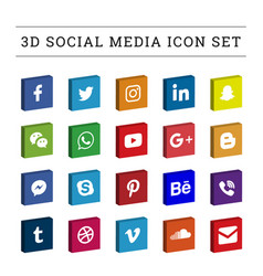 3d square colored social media icon set vector image