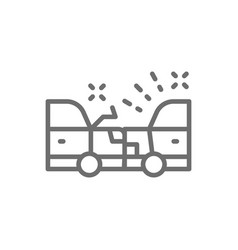 accident car crash line icon vector image