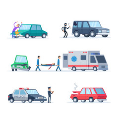 Accident on road cars damage vector