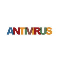 Antivirus business card text modern lettering vector