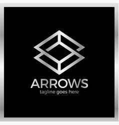 Arrow rhomb line logo vector