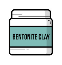 bentonite clay jar vintage icon vector image