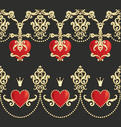 Borders with beautiful ornamental red hearts vector