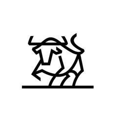 bull monoline logo icon vector image