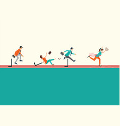 Business people running and jumping hurdles on vector