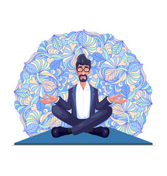 Businessman practices yoga vector