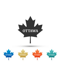Canadian maple leaf with city name ottawa icon vector