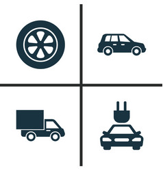 car icons set collection of wheel plug lorry vector image