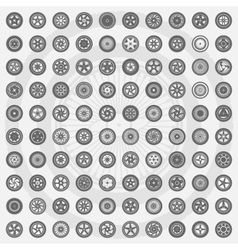Car wheel set Rims icons vector image
