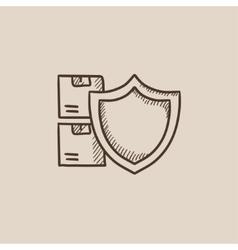 Cargo insurance sketch icon vector image