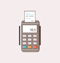Cartoon payment machine with paper receipt vector