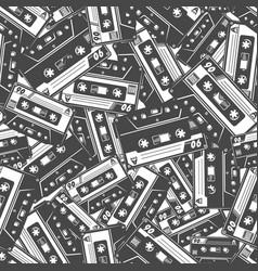 Cassette tape seamless pattern vector