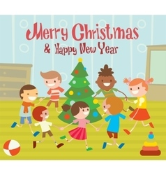 children round dancing christmas tree in baclub vector image