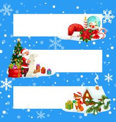 christmas gift santa xmas tree present banners vector image