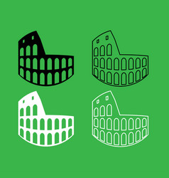 coliseum icon black and white color set vector image