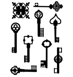 Collection ancient keys vector